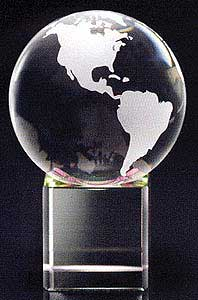 World Lead Crystal Globe, Crystal Globe On Base