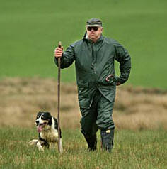 Sheepdog Trial Handler and his dog Aberceiro Double Gather 2002