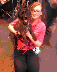 Megan and a laughing Alfie at Crufts 2013